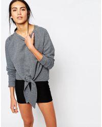 Missguided - Tie Front Sweatshirt - Lyst