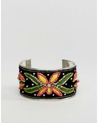 New Look - Embroidered Cuff Bracelet - Lyst