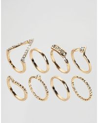 New Look - V Signature Ring Stack Pack - Lyst