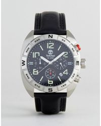 Timberland - Oakwell Mens Watch Black Leather Strap With Black Multi-functional Dial - Lyst