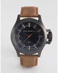 French Connection - Watch Dark Brown Leather Strap Black Dial - Lyst