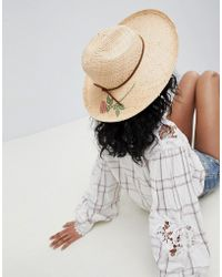 Brixton - Straw Fedora Hat With Printed Rose - Lyst