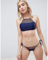 Pieces - Geo- Print Side Tie Bikini Bottom - Lyst