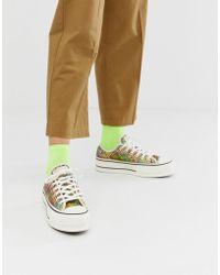 cdde58dbe284 Converse - Chuck Taylor All Star Lo Platform Rainbow Crochet Trainers - Lyst