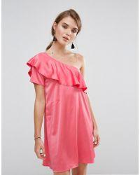 Madam Rage - One Shoulder Satin Frill Dress - Lyst