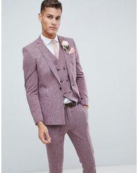 ASOS - Wedding Skinny Suit Jacket In Dark Wine Cross Hatch With Printed Lining - Lyst