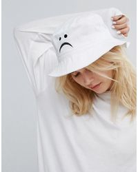 Adolescent Clothing - Adolescent Bucket Hat With Sad Face Embroidery - Lyst