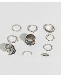 ASOS - Ring Pack With Stone Interest And Feather In Burnished Silver - Lyst