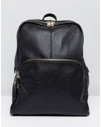 Oasis - Faux Leather Zip Backpack - Lyst