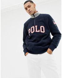bb2f0ff52b5d4e Polo Ralph Lauren - Sweat-shirt polaire avec demi-patte zippe et logo  appliqu