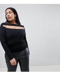 ASOS - Going Out Slash Neck Bardot Long Sleeve Top - Lyst