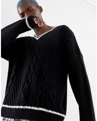 Collusion - V-neck Cable Knit Jumper With Contrast Tipping - Lyst