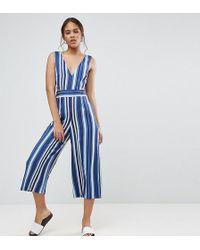 ASOS - Cut Out Side Jumpsuit In Stripe - Lyst