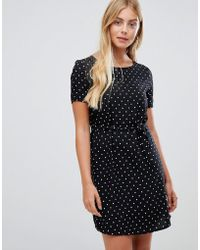 ONLY - Lisa Printed Dress With Tie Waist - Lyst