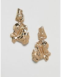 ASOS - Earrings In Organic Metal Design In Gold - Lyst