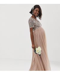 Maya Maternity - Bridesmaid V Neck Maxi Tulle Dress With Tonal Delicate Sequins In Taupe Blush - Lyst