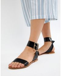 377f87fade2 ASOS Feebs Leather Chunky Flat Sandals in Black - Lyst