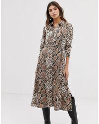 Y.A.S - Snake Print Midi Shirt Dress - Lyst