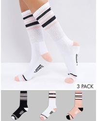 Vans - 3 Pack Double Play Crew Socks - Lyst