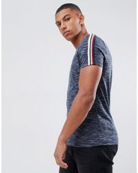 ASOS - T-shirt With Taping Shoulders In Navy Inject - Lyst