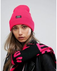 Cheap Monday Ribbed Knit Beanie With Patch Logo