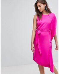 Warehouse   Asymmetric Ruffle Midi Dress   Lyst