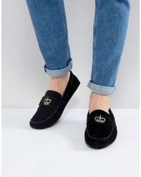 ASOS - Driving Shoes In Black With Crown Embroidery - Lyst