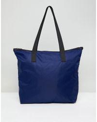 ASOS - Design Zip Top Tote Bag In Navy - Lyst