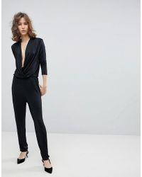 SELECTED - Femme Wrap Slinky Jumpsuit - Lyst