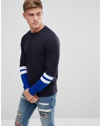 Only & Sons - Crew Neck Sweat With Stripe Sleeve Detail - Lyst