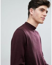 Mango - Man Turtle Neck Merino Jumper In Burgundy - Lyst