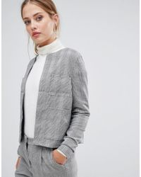 Y.A.S - Jekky Check Collarless Blazer - Lyst
