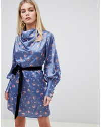 Fashion Union - Cowl Neck Dress With Tie Waist In Romantic Floral - Lyst