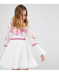 Frock and Frill - To Lace & Embroidery Top Pleated Mini Dress - Lyst