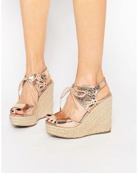 Lipsy | Brooke Rose Gold Metallic Tie Up Wedge Sandals | Lyst
