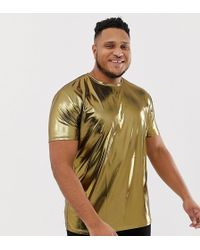 ASOS - Plus Relaxed Longline T-shirt In Metallic Fabric In Gold - Lyst