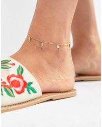 Orelia - Gold Tusk Detail Anklet - Lyst