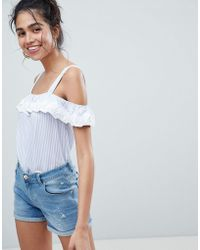 Oasis - Stripe Cold Shoulder Broderie Detail Top - Lyst