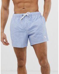 Abercrombie & Fitch - 5 Inch Side Tape Logo Seersucker Stripe Swim Shorts In Blue - Lyst