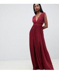 c6eb3c8ada ASOS Asos Design Petite Lace And Dobby Mesh Overlay Maxi Dress in ...