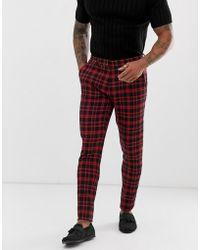 ASOS - Plus Super Skinny Suit Trousers In Red Tartan Check - Lyst