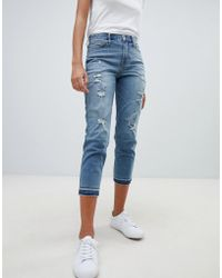 Hollister - Dark Destroyed Girlfriend Jeans - Lyst