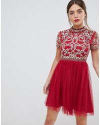 Frock and Frill - Frock & Frill 3/4 Sleeve Pleated Skater Dress With Embellished Upper Detail - Lyst