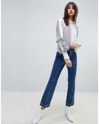 Gestuz - Wide Leg Jeans With Button Hem - Lyst