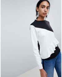 B.Young - Ruffle Colour Block Jumper - Lyst