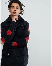 Criminal Damage - Denim Jacket In Black With Roses - Lyst