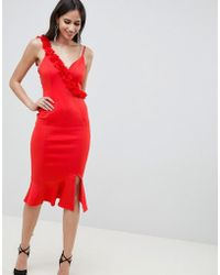 ASOS - Corsage Strap Pephem Midi Dress - Lyst