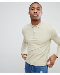 ASOS - Design Pique Long Sleeve Polo With Button Down Collar In Beige - Lyst