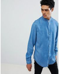 Stradivarius - Denim Shirt With Grandad Collar - Lyst