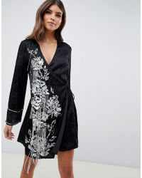 78c0b232206bd ASOS - Kimono Wrap Dress With Pearl And Embellishment With Tassle Ties -  Lyst